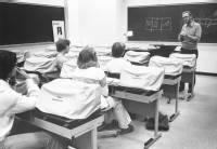 Journalism class using Adler typewriters, ca. 1975